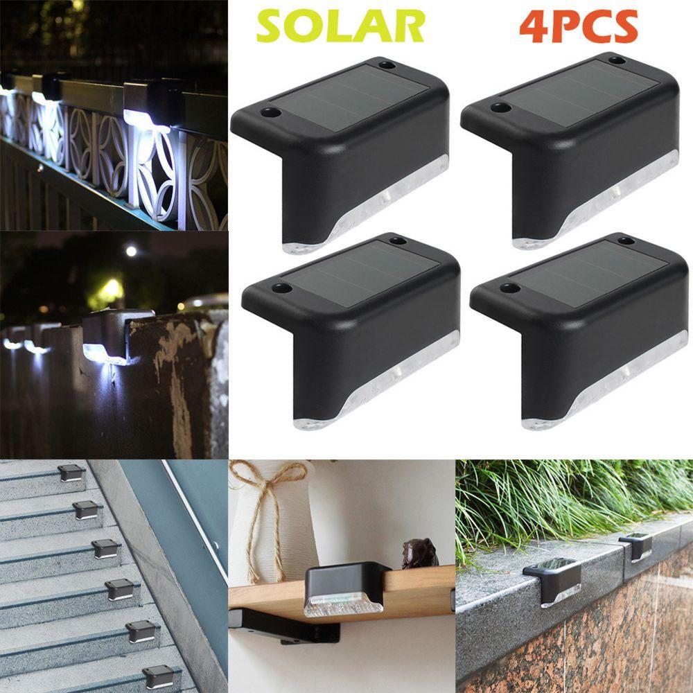Generic LED 4pcs solaire Chemin d'escalier extérieur Lumière de jardin Clôture de jardin Applique Paysage