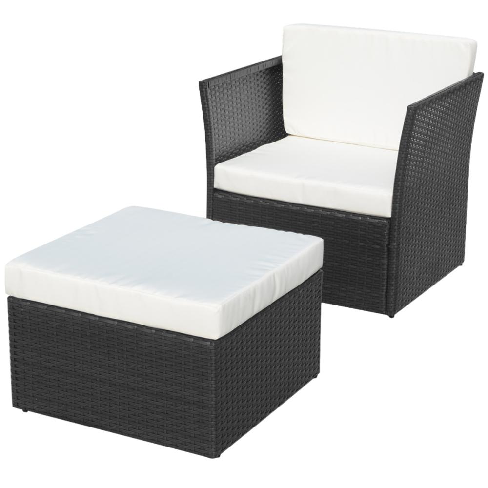 Vidaxl vidaXL Ensemble de cinq pièces chaises jardin Rotin poly Noir