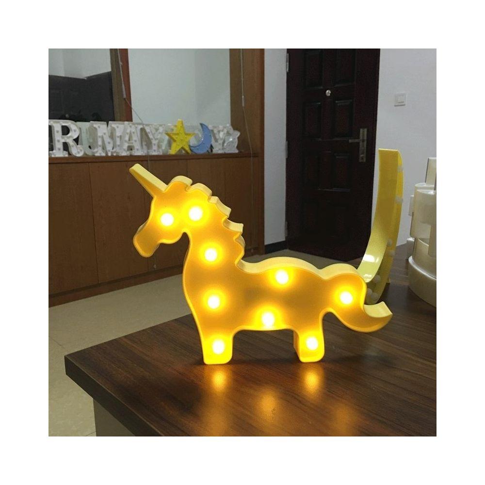 Wewoo Lampe de décoration à DEL blanche chaude en forme de licorne créative, 2 x piles AA alimentées par une lampe de fête, ta