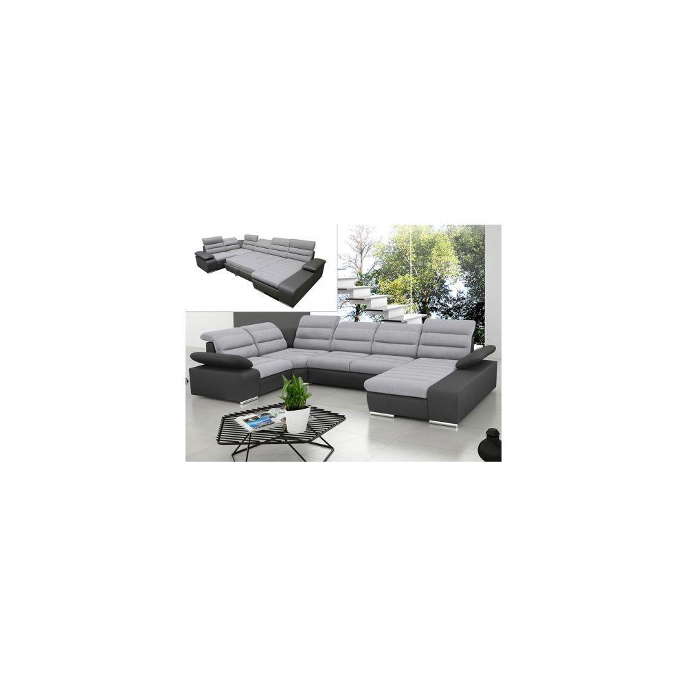 Vente-Unique Canapé d'angle panoramique convertible en tissu et simili BOILEAU - Bicolore gris/anthracite - Angle droit