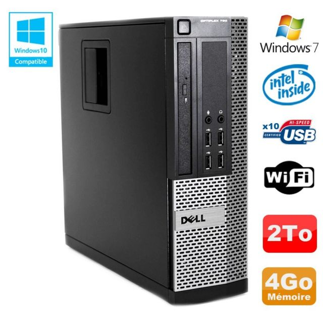 Dell - PC DELL Optiplex 790 SFF Intel G2020 Ram 4Go DDR3 Disque 2To WIFI Win 7 - Occasions Unité centrale