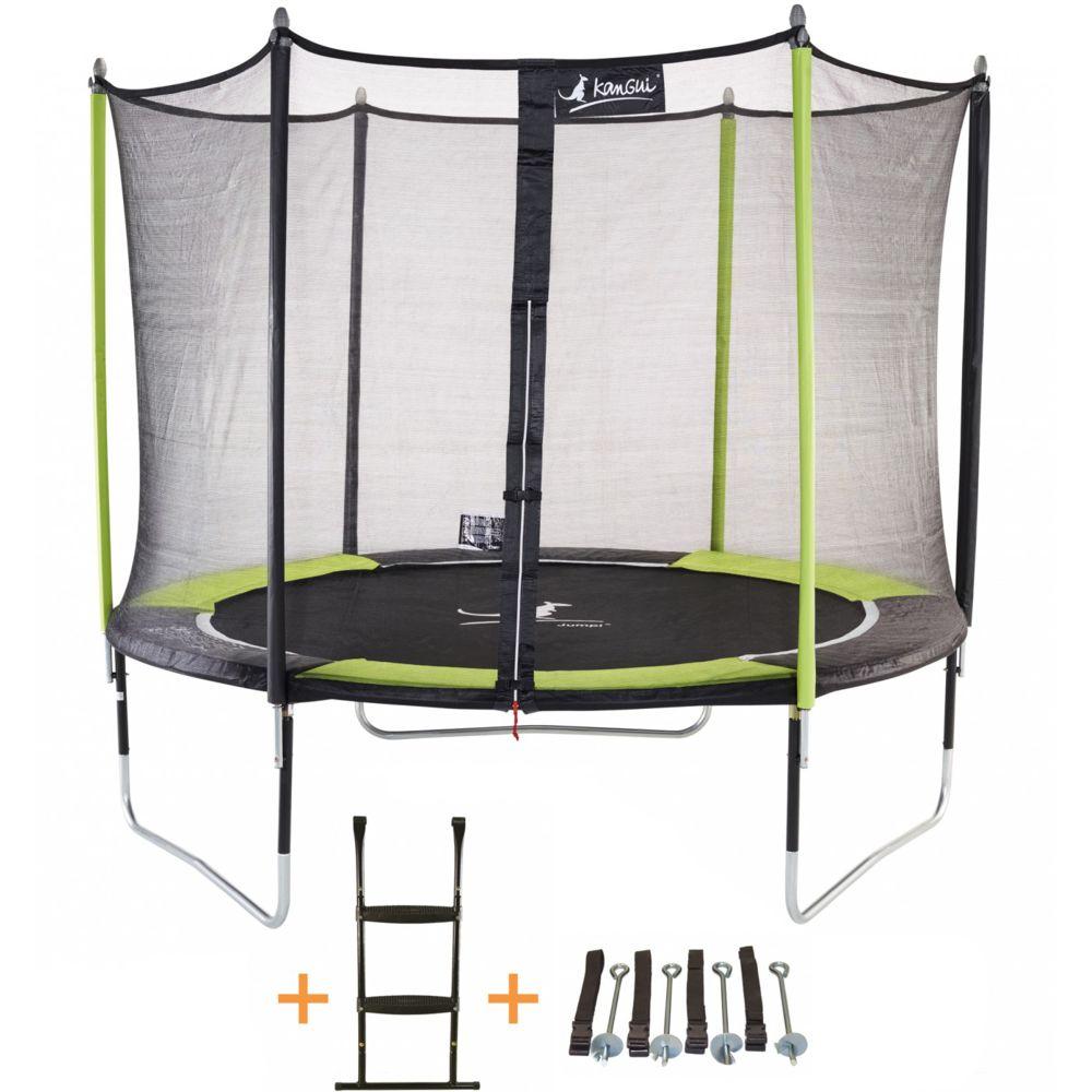 Kangui Kangui - Trampoline de jardin 305 cm + filet de sécurité + échelle + kit d'ancrage JUMPI Vert/Noir 300