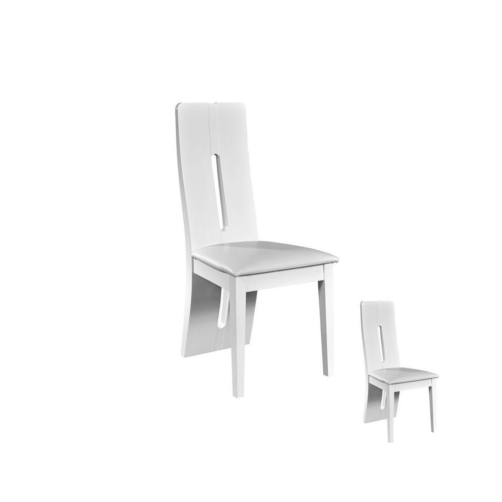 Tousmesmeubles Duo de chaises Simili Cuir Blanc - FILY