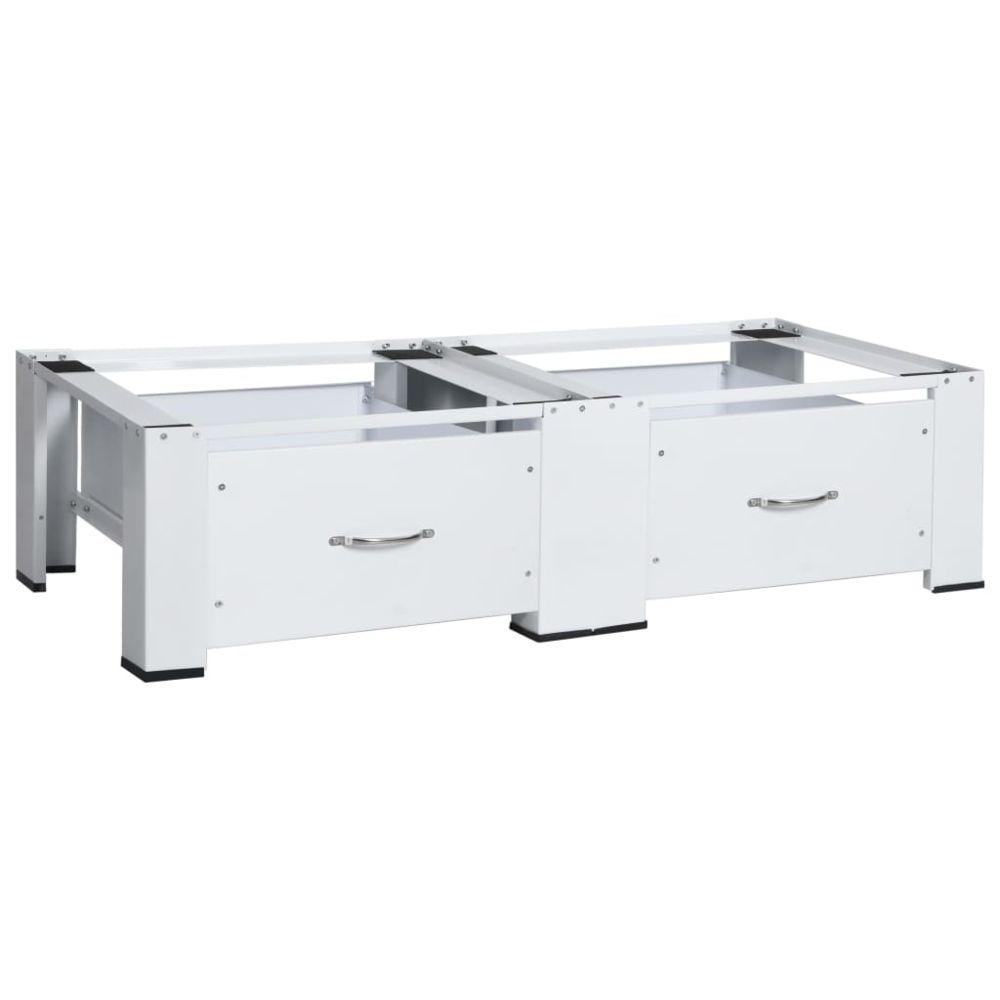 Vidaxl vidaXL Socle double pour lave-linge et sèche-linge avec tiroirs Blanc