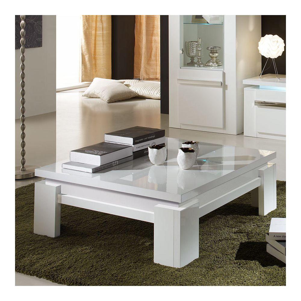 Kasalinea Table basse carrée blanche laquée design RALPH