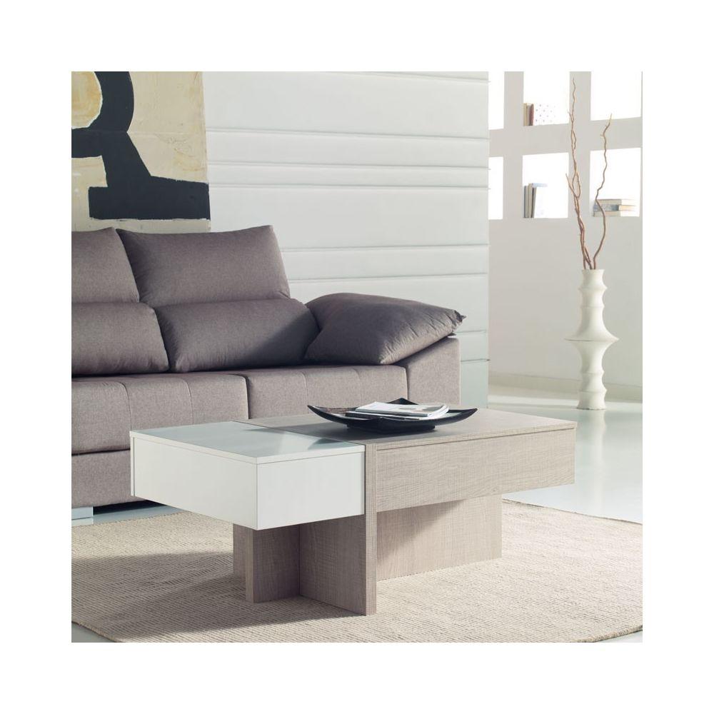 Tousmesmeubles Table basse relevable blanc/chêne clair - AJAR
