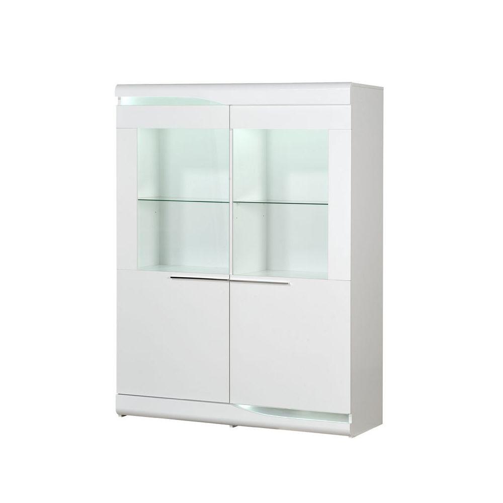Tousmesmeubles Vitrine 2 portes Blanc laqué brillant à LEDs - PESMES
