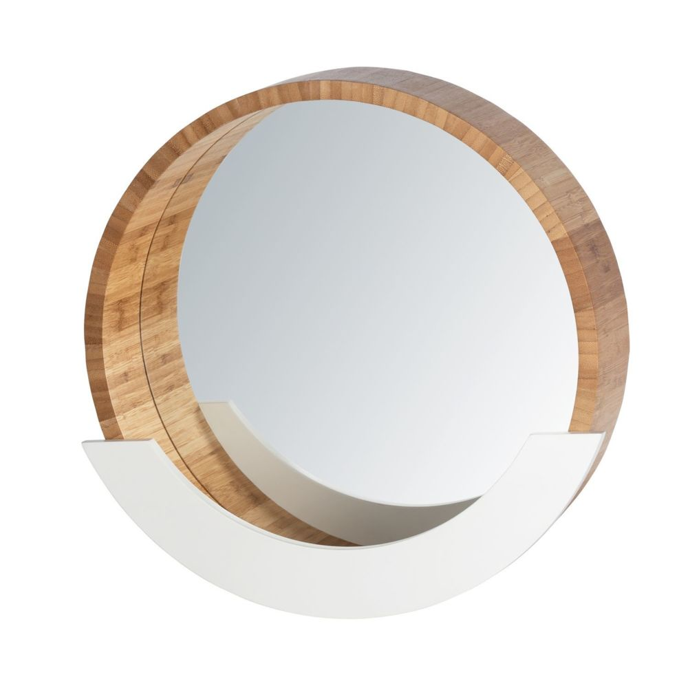 Wenko Miroir avec compartiment scandi Finja - Diam. 39 cm - Blanc