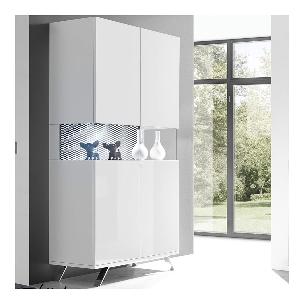 Sofamobili Vaisselier lumineux blanc et noir design ROSINI 3
