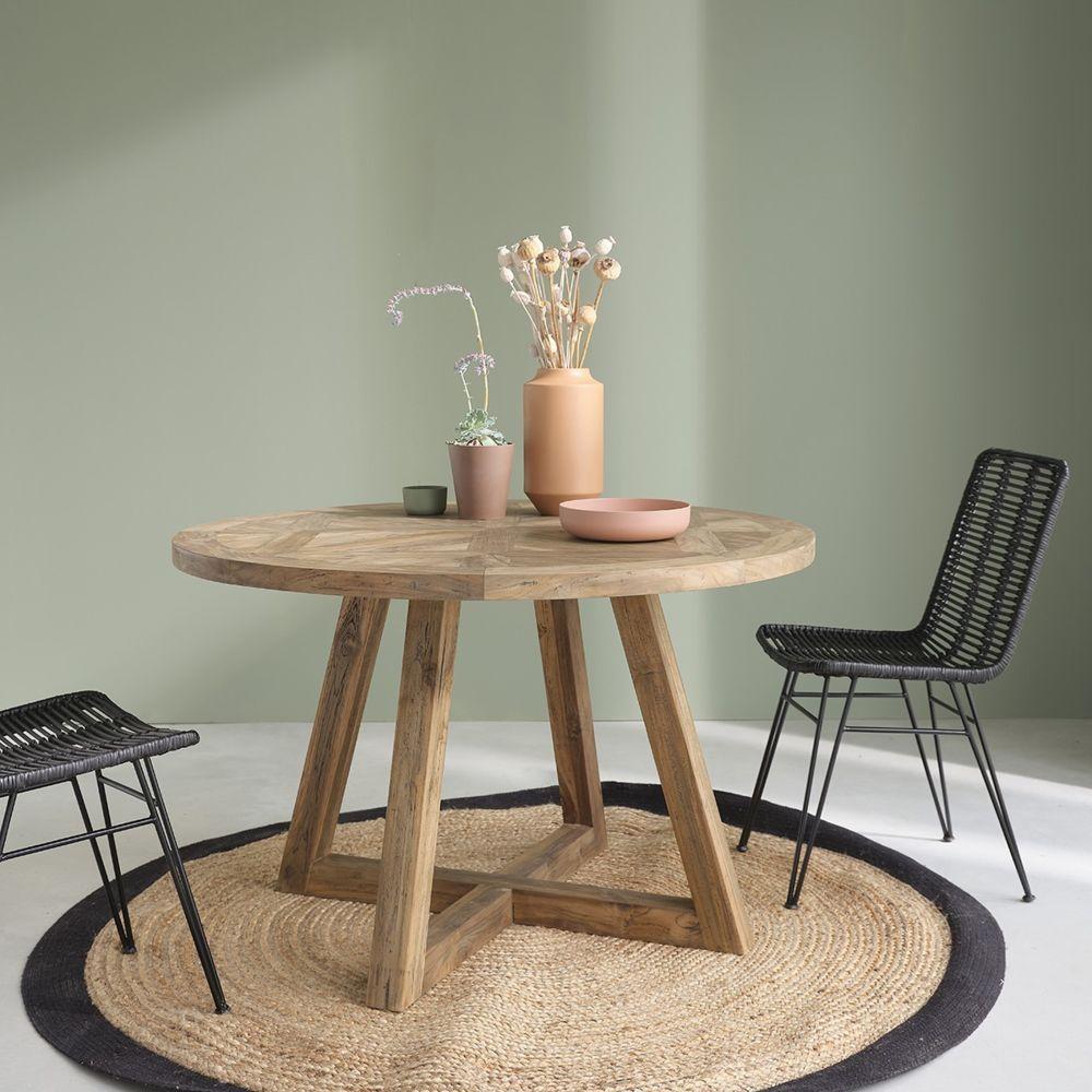 Bois Dessus Bois Dessous Table ronde en bois de teck recyclé 4 personnes