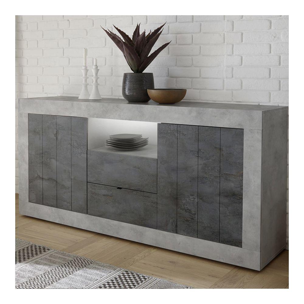 Sofamobili Enfilade 180 cm couleur gris béton moderne SERENA 7