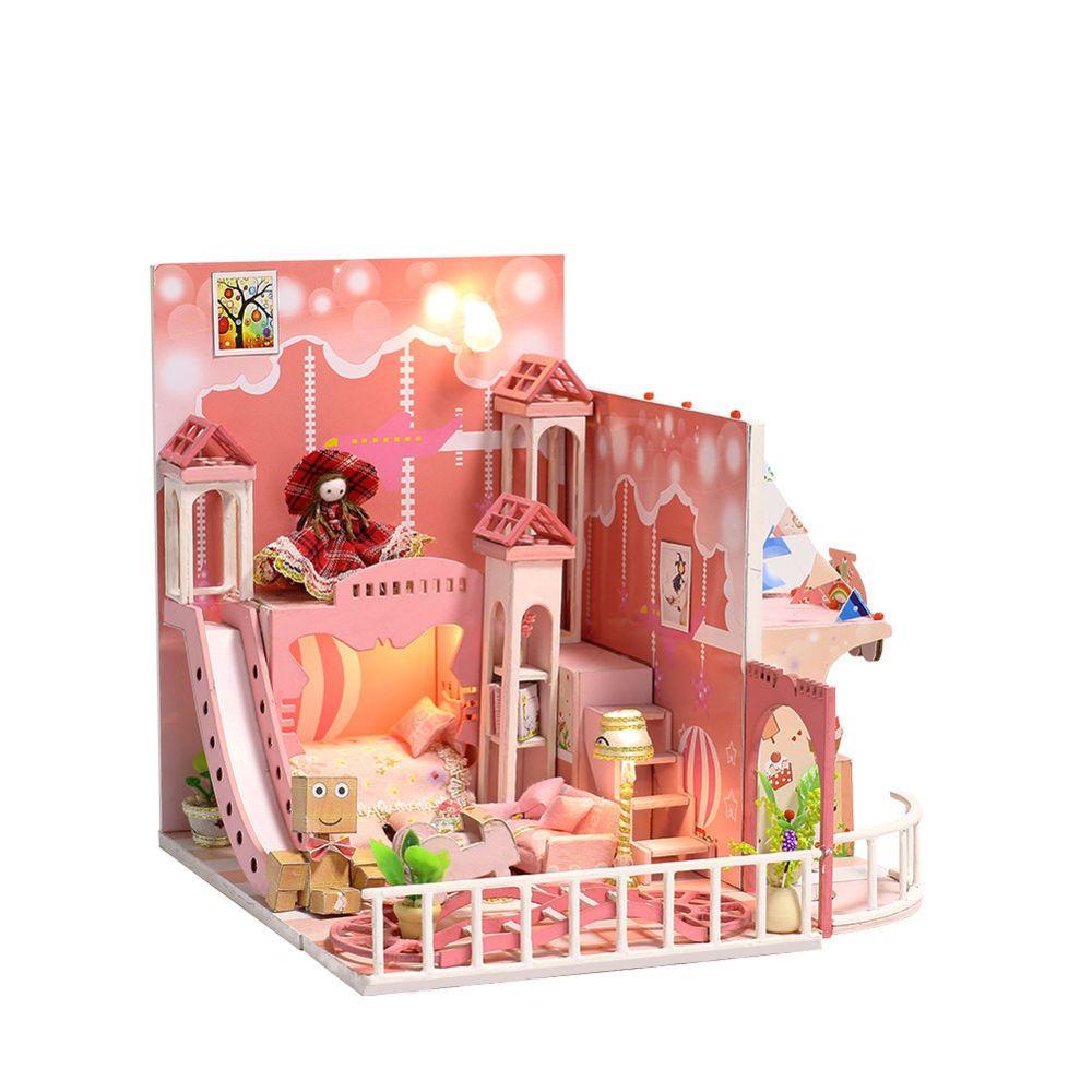 Iie Create Miniature bricolage maison de poupée Kit Jeux d?enfance avec lumière et boîte musique