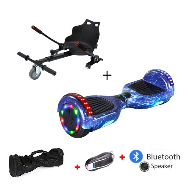 Mac Wheel - 6,5 pouces ciel bleu Gyropod Overboard Hoverboard Smart Scooter + Bluetooth + clé à distance + sac + Roue LED + hoverkart - Gyropode, Hoverboard