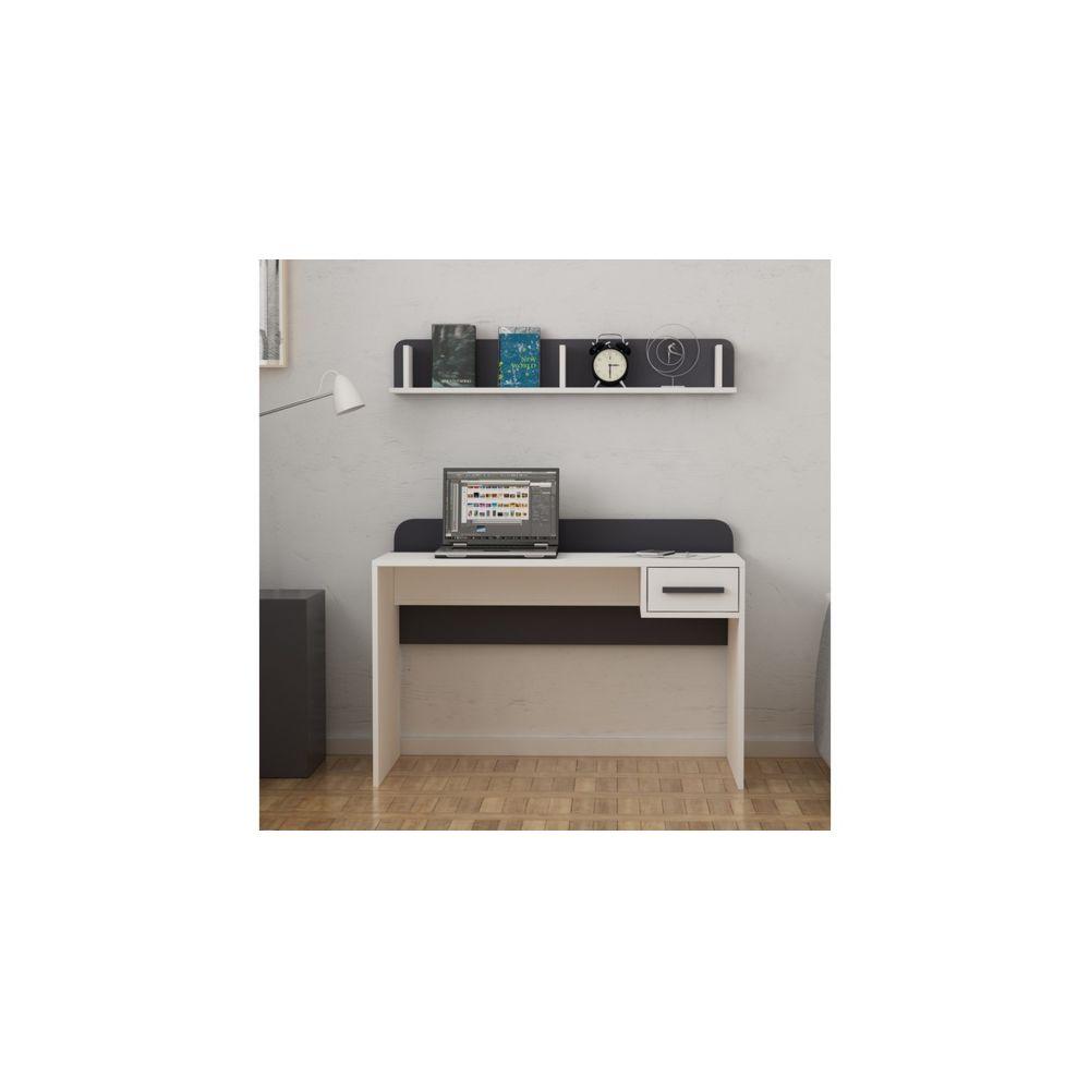 Homemania HOMEMANIA Bureau Senny avec Étagères, Tiroir - pour Bureau, Chambre - Blanc, Anthracite en Bois, 120 x 62 x 87 cm