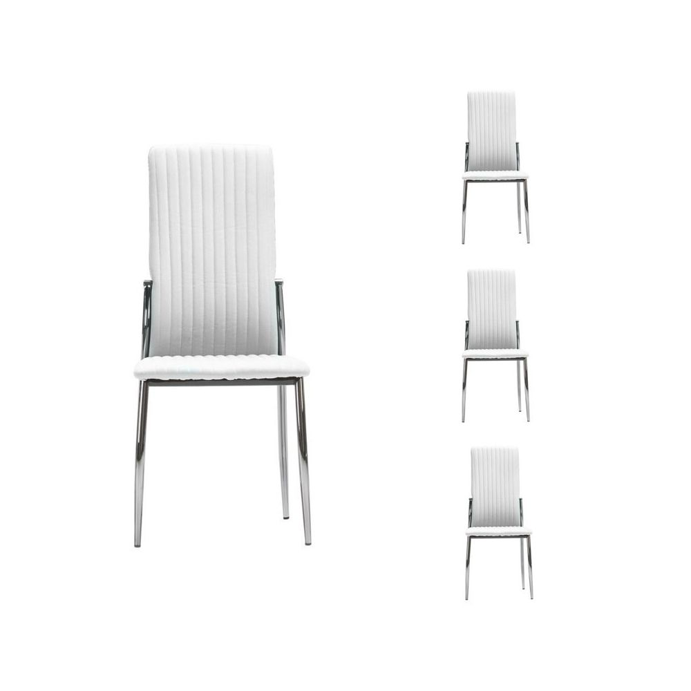 Tousmesmeubles Quatuor de chaises Simili cuir Blanc - MERLAIN