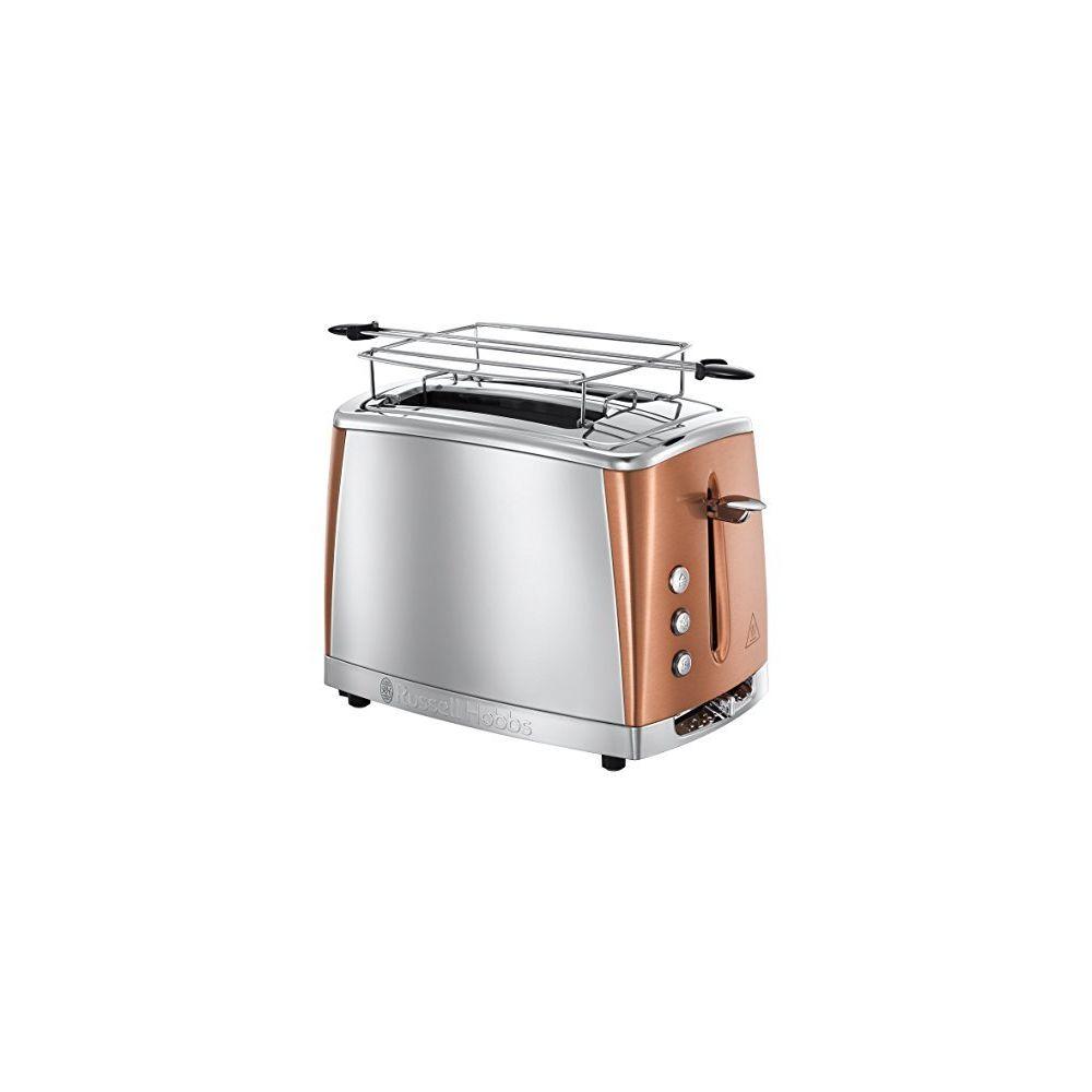 Russell Hobbs Toaster Luna Inox & Cuivré Rosé - Technologie Fast Toast, 55% plus rapide, 2 fentes, réch. Viennoiserie