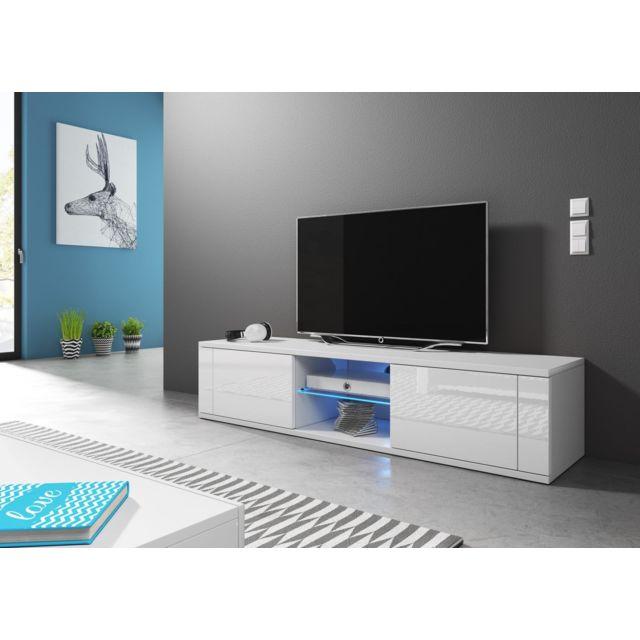 vivaldi meuble tv hit 140 cm blanc mat blanc brillant led style