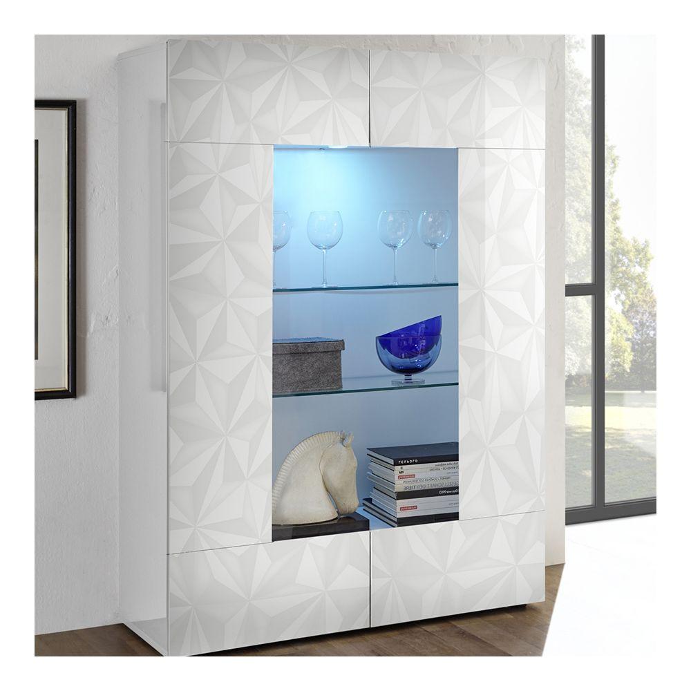 Sofamobili Meuble vaisselier blanc laqué design 120 cm ANTONIO