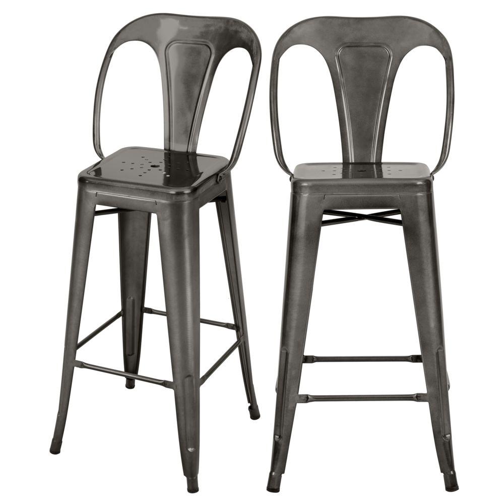Rendez Vous Deco Chaise de bar mi-hauteur Indus gris anthracite 66 cm (lot de 2)