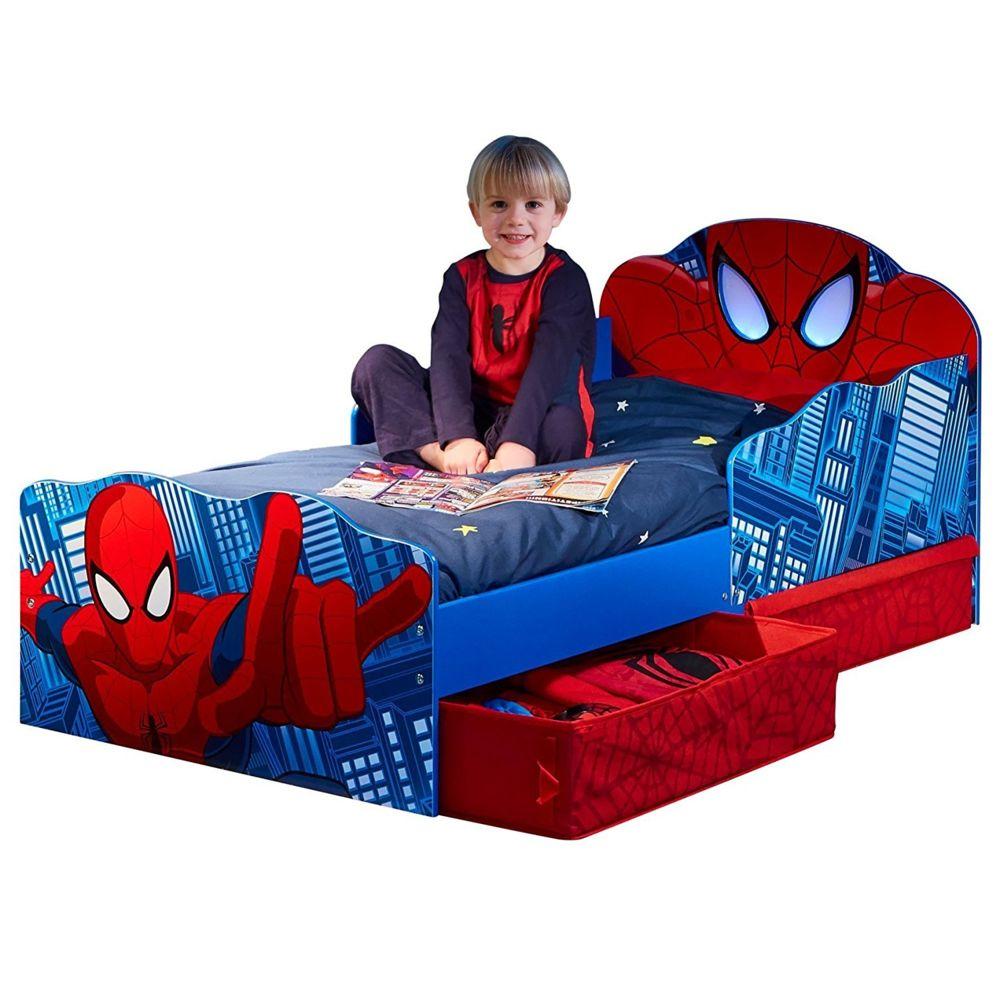 WORLDS APART Lit enfant Spiderman Marvel Design tiroirs de rangement tete de lit lumineuse