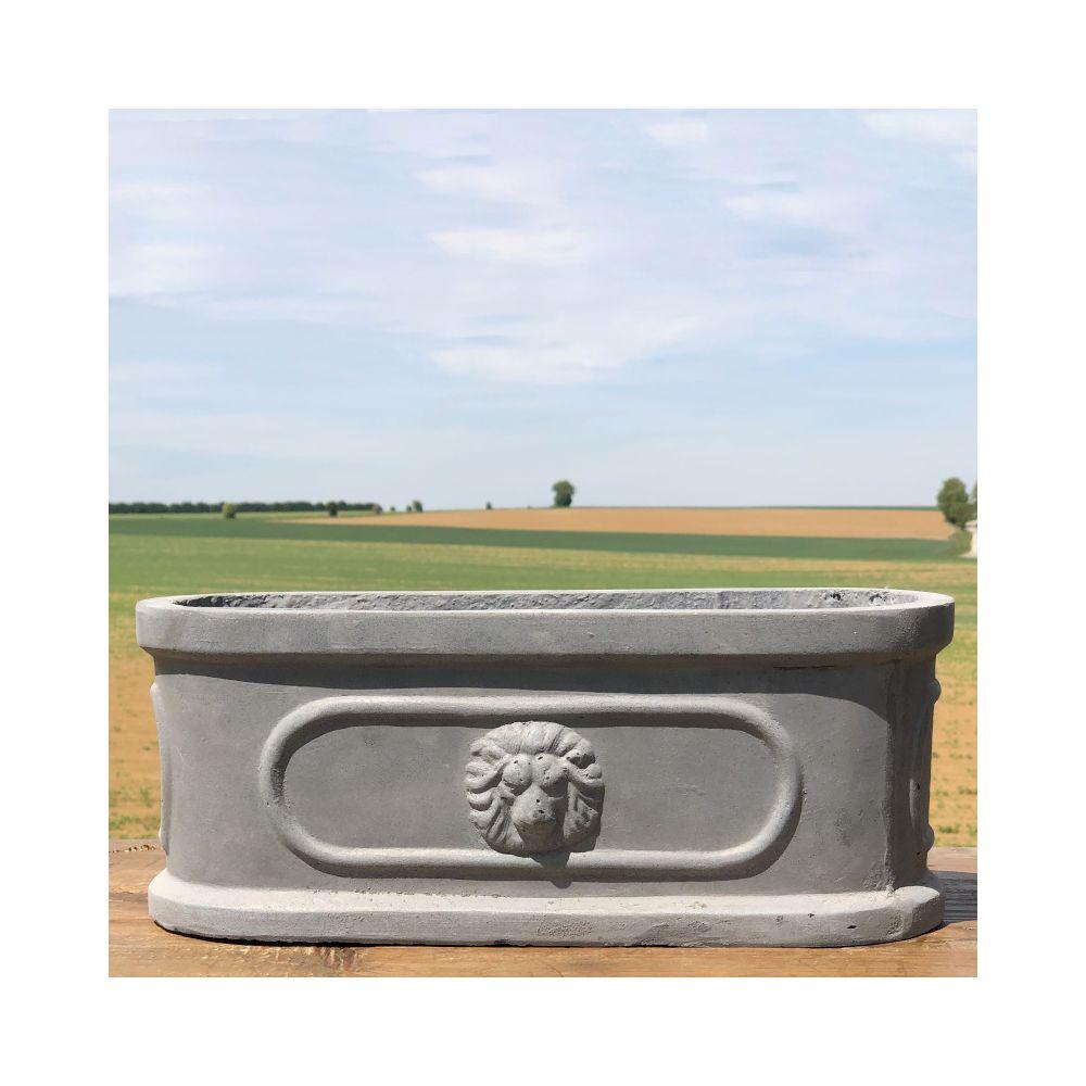 L'Originale Deco Jardinière Pot Vasque Médicis Fenêtre Jardiniere Balcon Tête Lion Gris Fonte Gris Plomb 36 cm x 15 cm