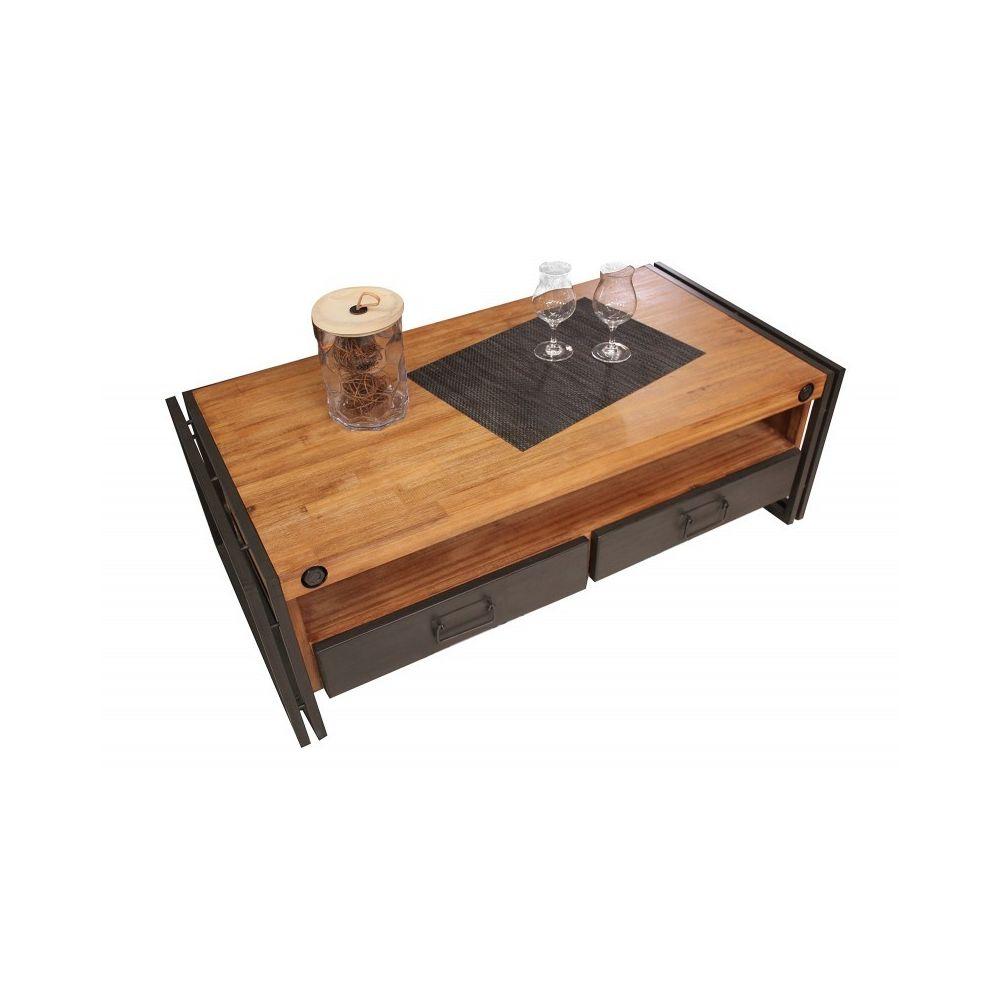 Meubletmoi Table basse style industriel 2 tiroirs et niche - WORKSHOP