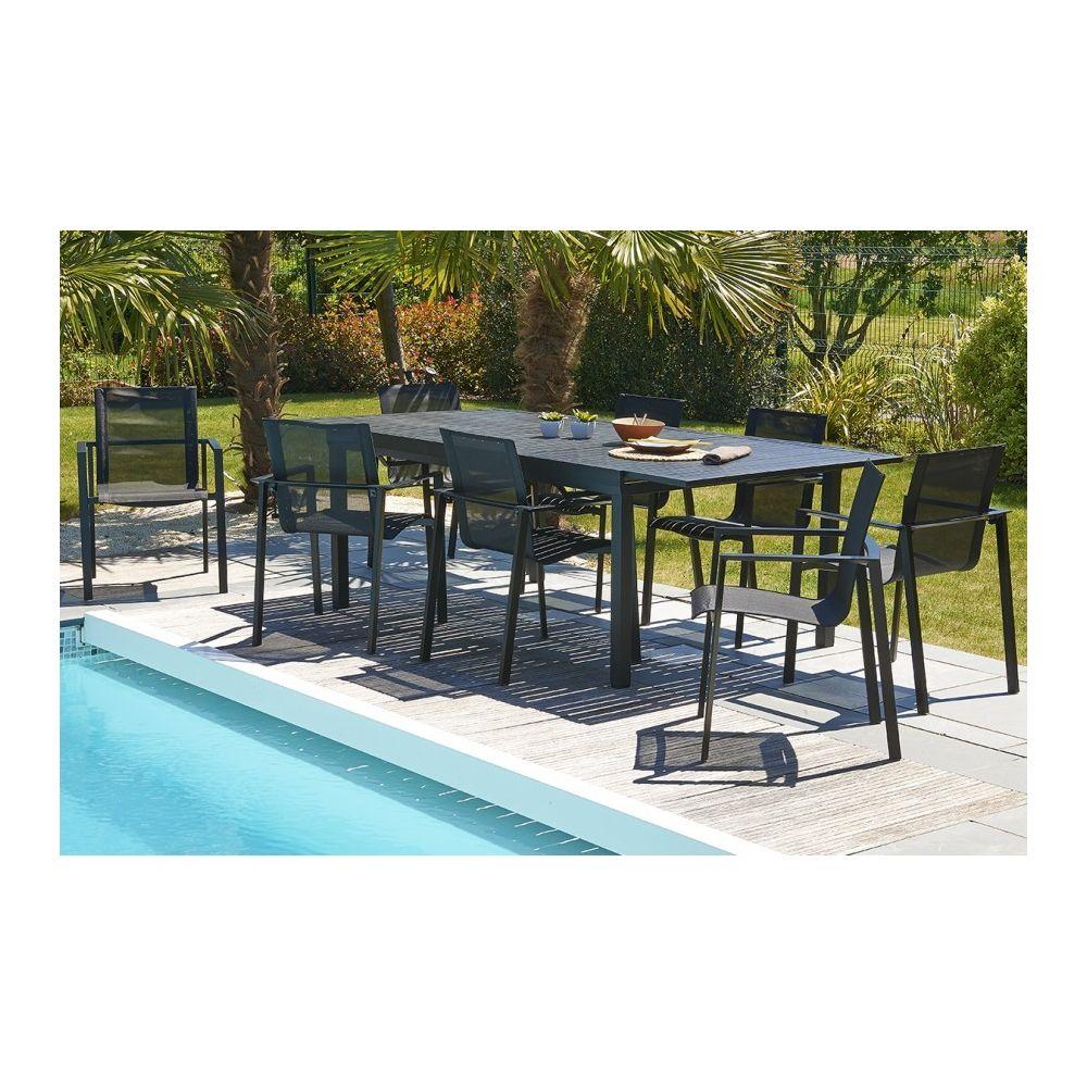 Dcb Garden Table 180/240 x 110 cm en aluminium noir