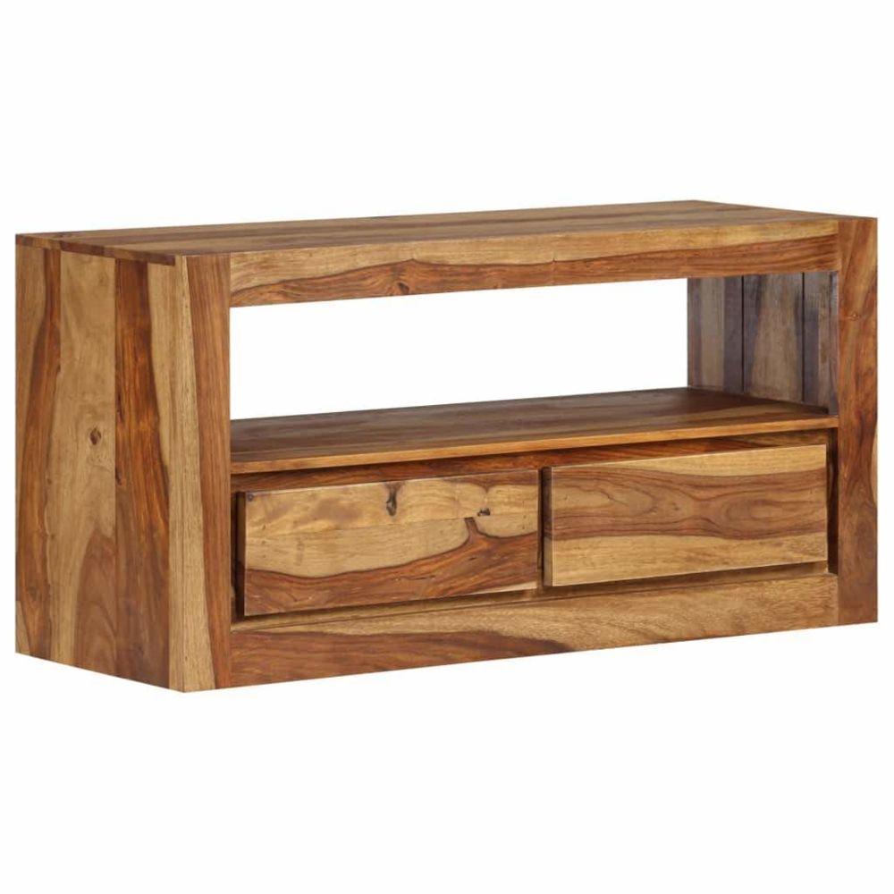 Helloshop26 Meuble télé buffet tv télévision design pratique bois massif de sesham 80 cm 2502181