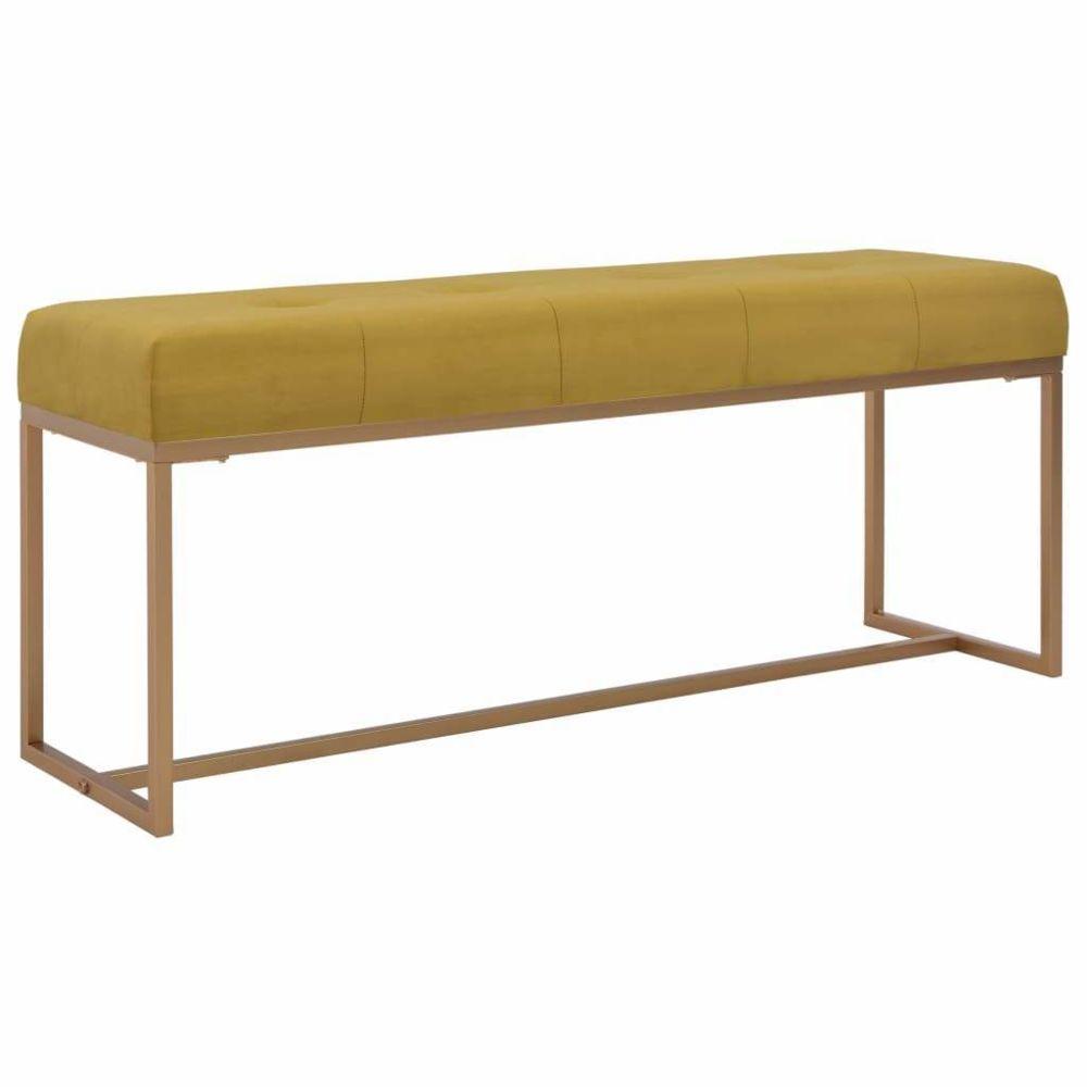 Helloshop26 Banquette pouf tabouret meuble banc 120 cm moutarde velours 3002081