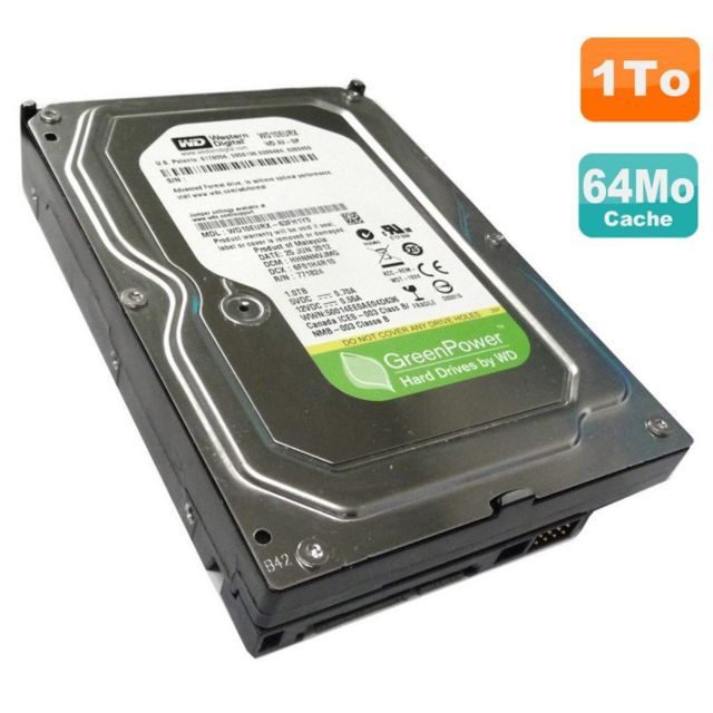 "Western Digital - Disque Dur 1To WD GreenPower WD10EURX-63C57Y0 3.5"""" SATA III 6Gbps 5400RPM 64Mo - Disque Dur"