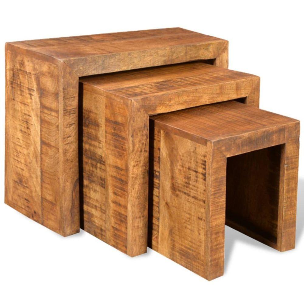 Uco UCO Table gigogne 3 pcs Bois massif de manguier