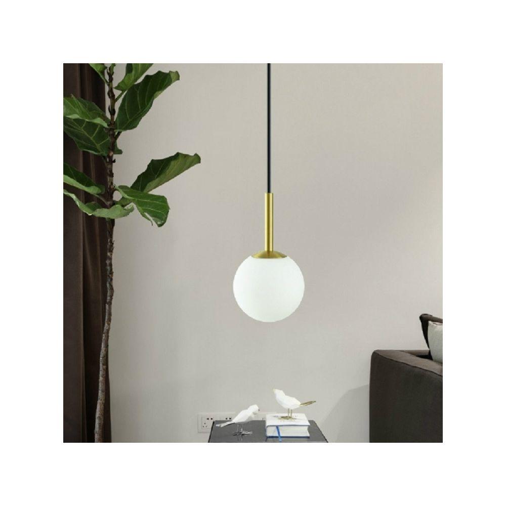 Wewoo Suspension luminaire Lustre Lampe Suspendue créatif boule de verre en cuivre avec lumière blanche 5W LED blanc lait