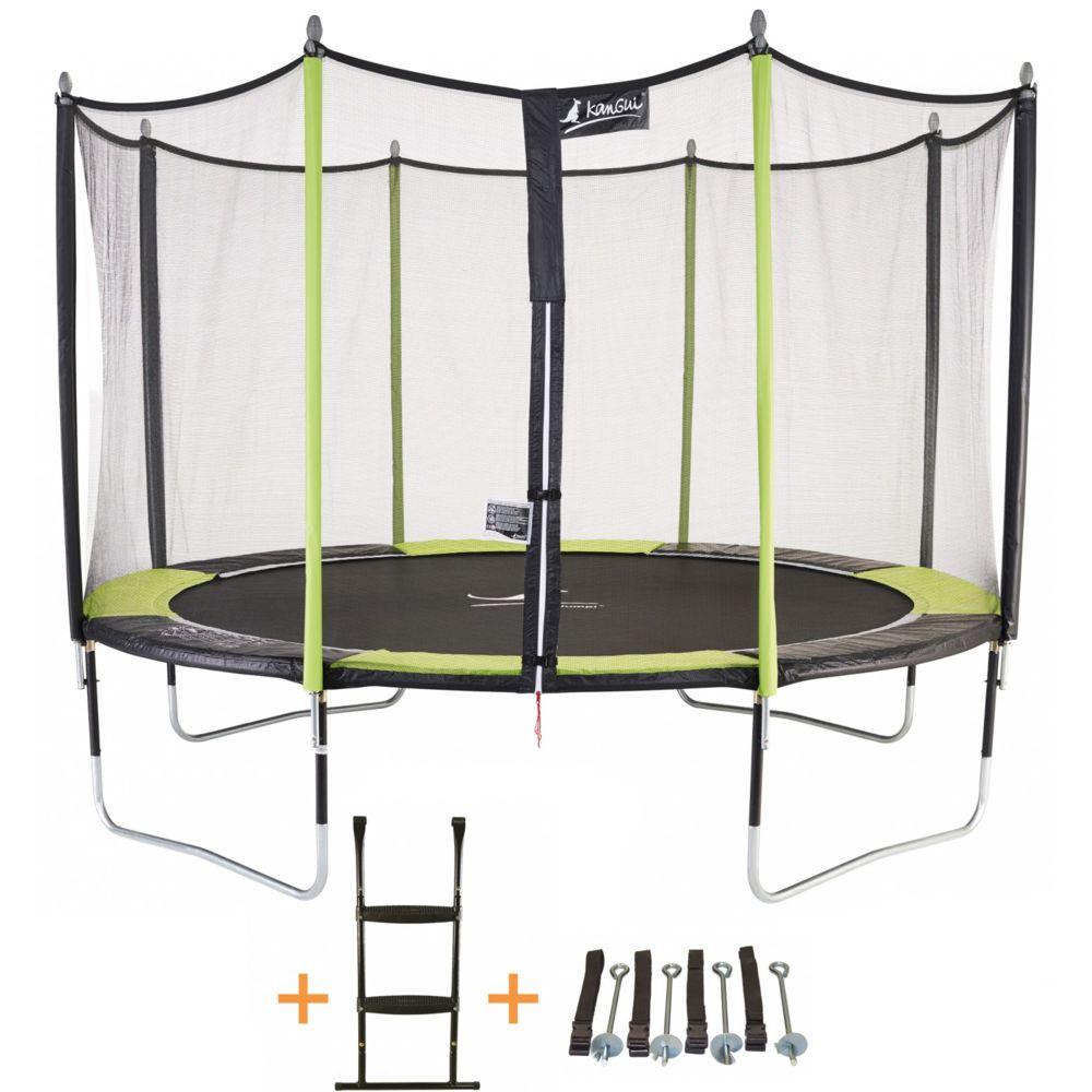 Kangui Kangui - Trampoline de jardin 365 cm + filet de sécurité + échelle + kit d'ancrage JUMPI Vert/Noir 360