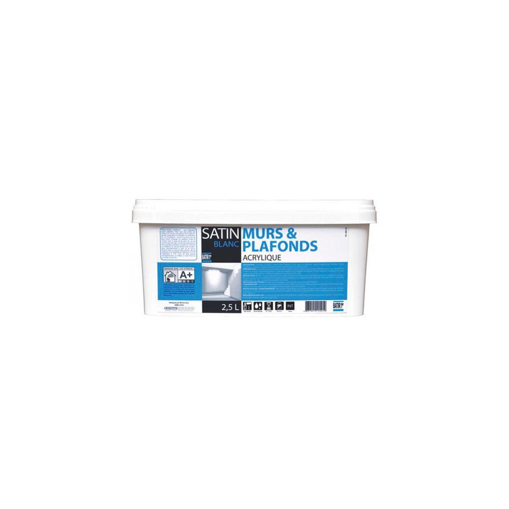 Batir Peintures Peinture acrylique murs et plafonds Satin 2,5 L - Blanc - BAT111541 - Batir