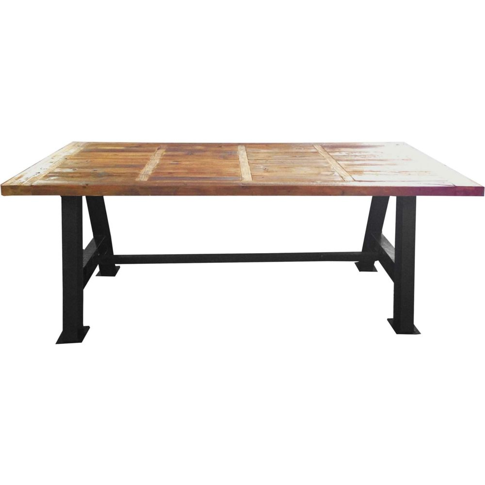 Antic Line Creations Grande table industrielle bois et métal 200 cm