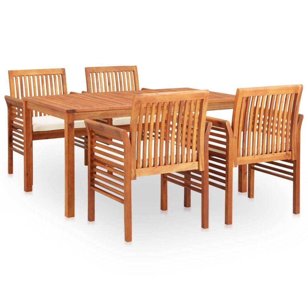 Vidaxl vidaXL Mobilier à dîner d'extérieur 5 pcs et coussins Acacia solide
