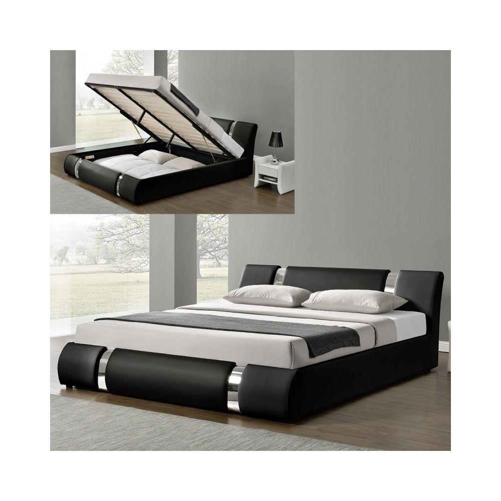 Meubler Design Lit Coffre Sommier Relevable Nova - Noir - 140x190