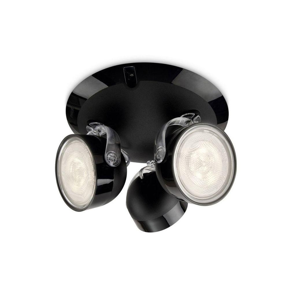 Philips Plafonnier rond 3 spots LED orientables diamètre 19.5cm Dyna - Noir