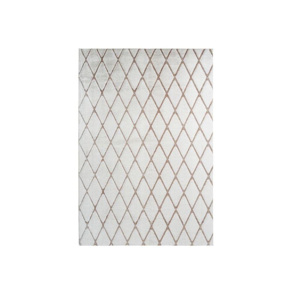 Paris Prix Tapis Shaggy Géométrique Vivica Blanc & Taupe - 80 x 250 cm