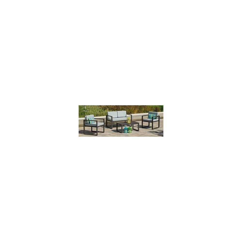 Hevea Hevea Ensemble Salon Sofa De Jardin MUNIC 7 en ALUMINIUM ANTHRACITE Coussins couleur GRIS CLAIR HEV31246