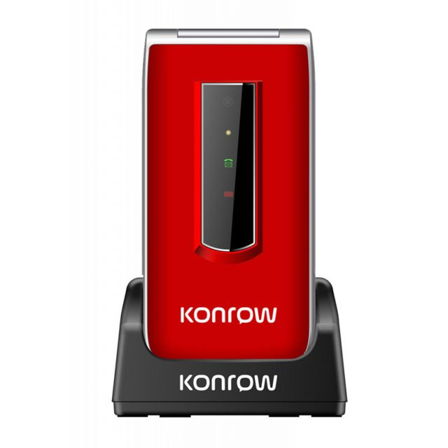 Konrow - Konrow Senior C - Écran 2.4'' - Double Sim - Rouge (Dock de charge Fourni) - Smartphone Android