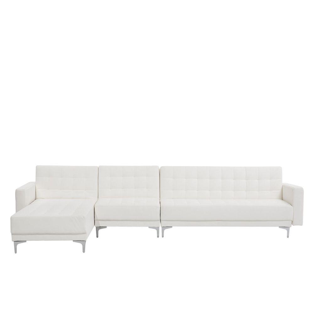 Beliani Beliani Grand canapé d'angle à droite en simili-cuir blanc ABERDEEN - blanc