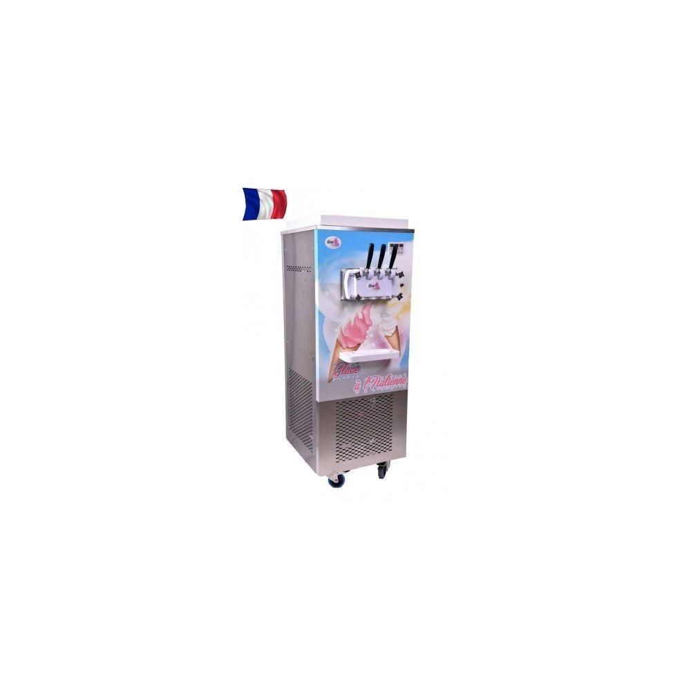 Gris Machine à glace sur roulettes triphasé - 2 parfums + 1 mixte - Gris -