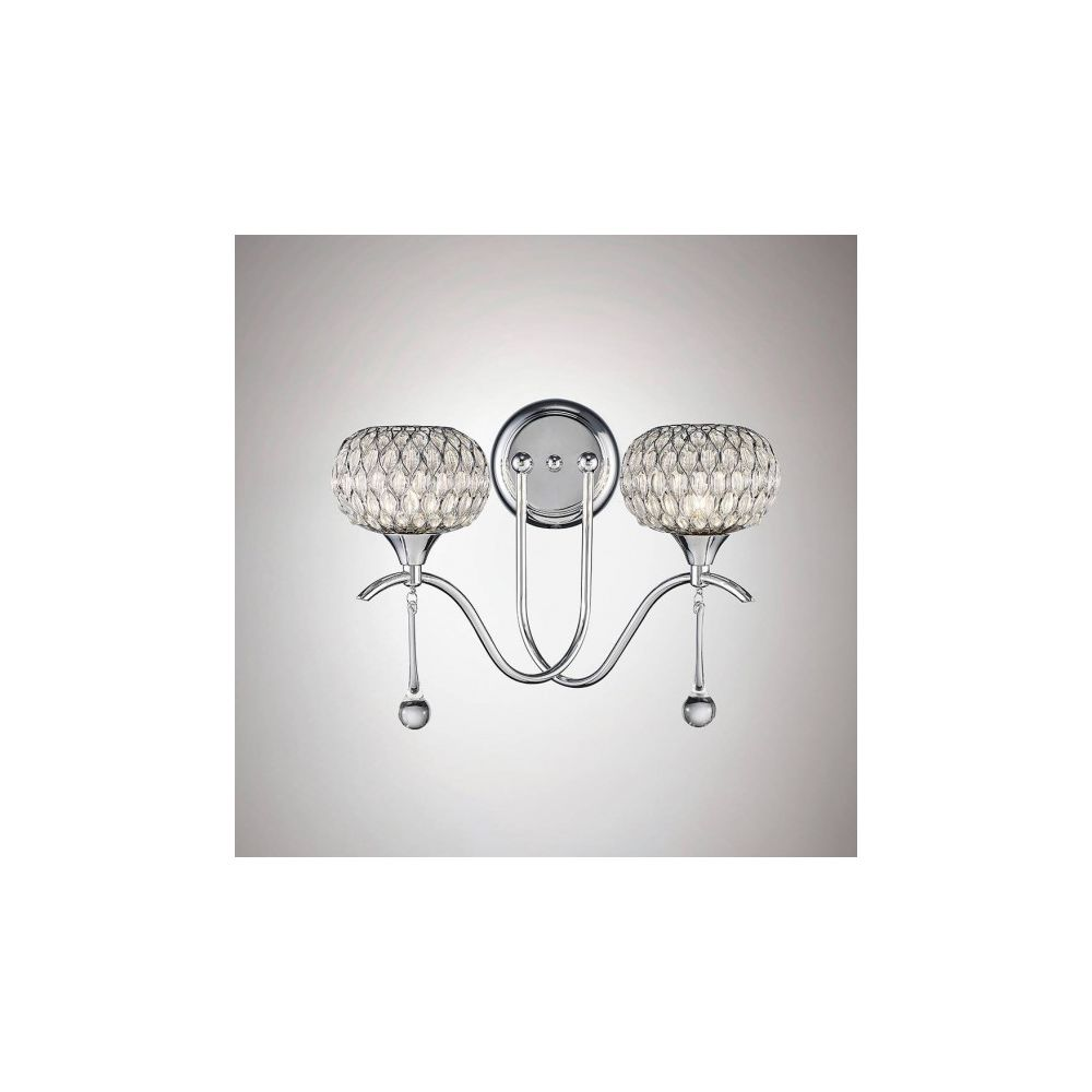 Luminaire Center Applique murale Chelsie 2 Ampoules Polished/verre transparent