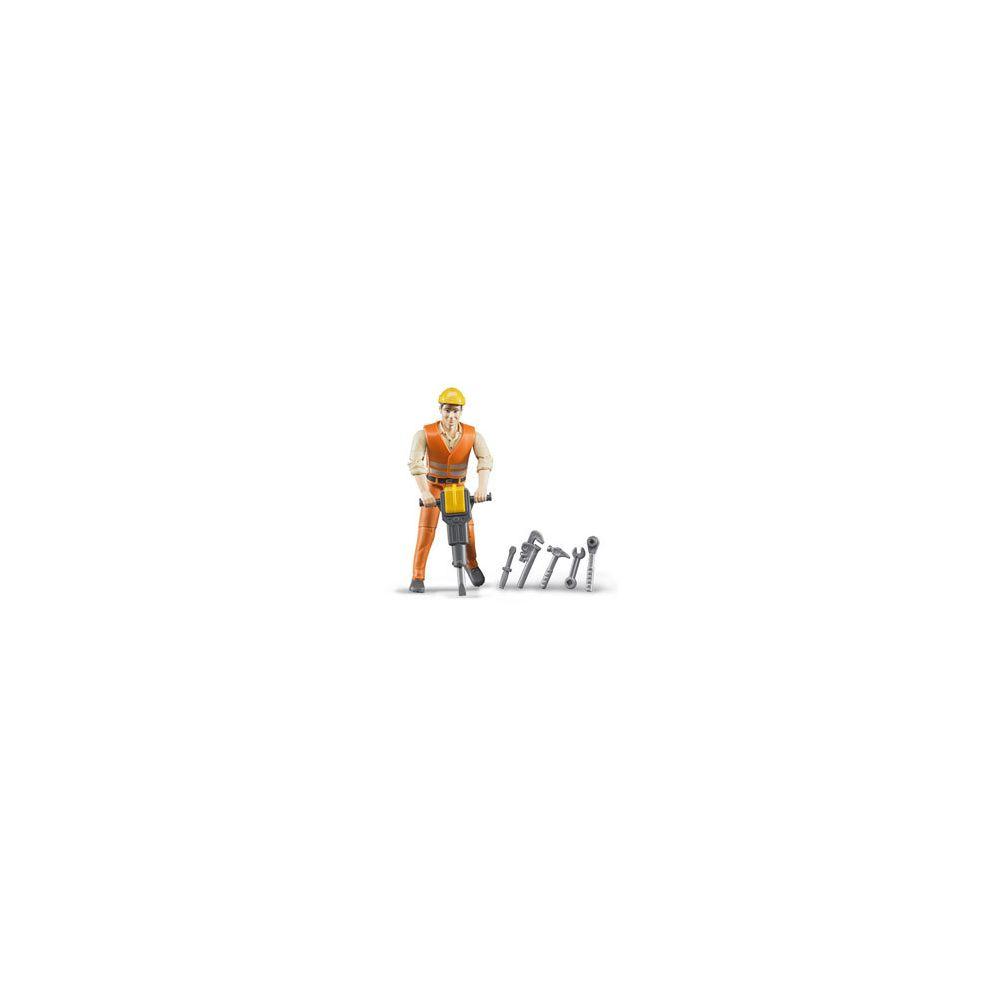 Bruder Figurine ouvrier avec accessoires de chantier
