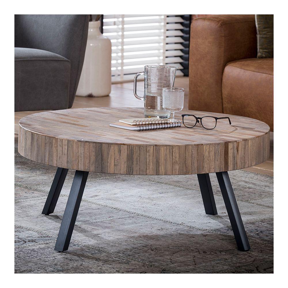 Nouvomeuble Table basse ronde en teck et métal NICK