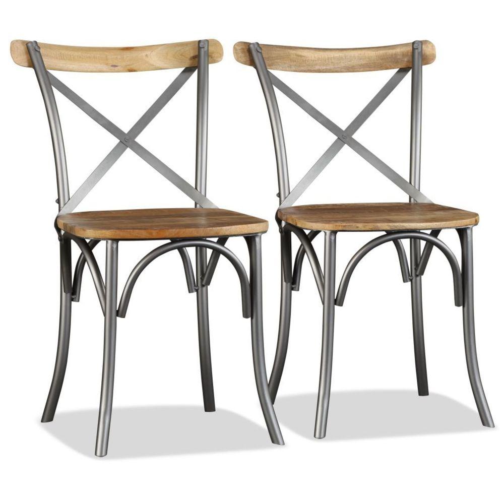 Vidaxl Chaise de salle à manger 2pcs Bois de manguier massif et Acier | Multicolore