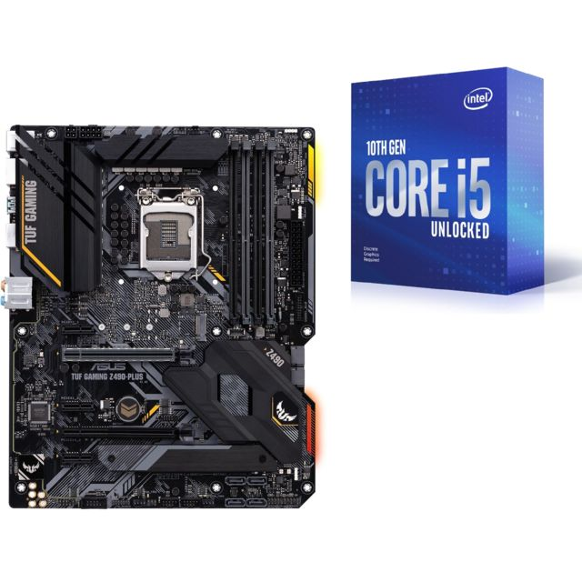 Intel - Core i5-10400F - 2.9/4.3 GHz + INTEL Z490-PLUS TUF GAMING - ATX - Kit d'évolution