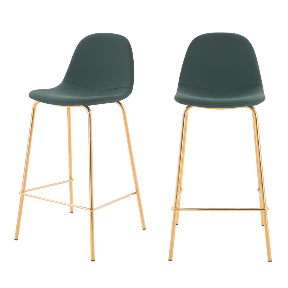 Rendez Vous Deco Chaise de bar mi-hauteur Henrik verte 65 cm (lot de 2)