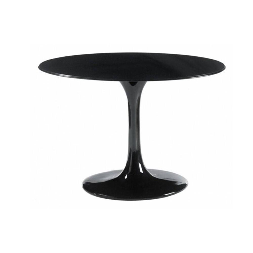 Inside 75 Table ronde de repas design TULIPE laquée noir 90 cm